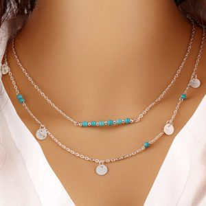 Ketting Turquoise series Double row Disc & Turquoise