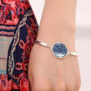 Verzilverde armband Mandala Blue