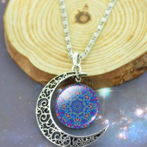 Verzilverde oorbellen set Mandala Blue