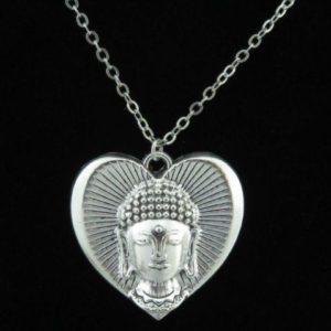 Verzilverde ketting Buddha Heart